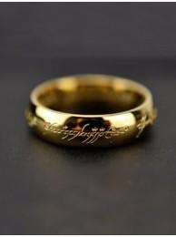Кольцо Всевластия Lord of the Rings с гравировкой позолоченное